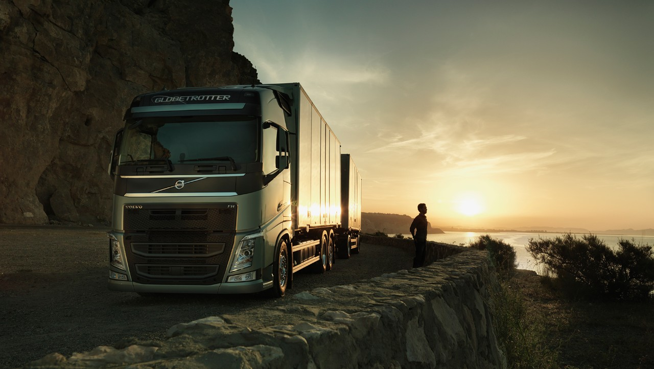 Volvo FH in sunset by the sea